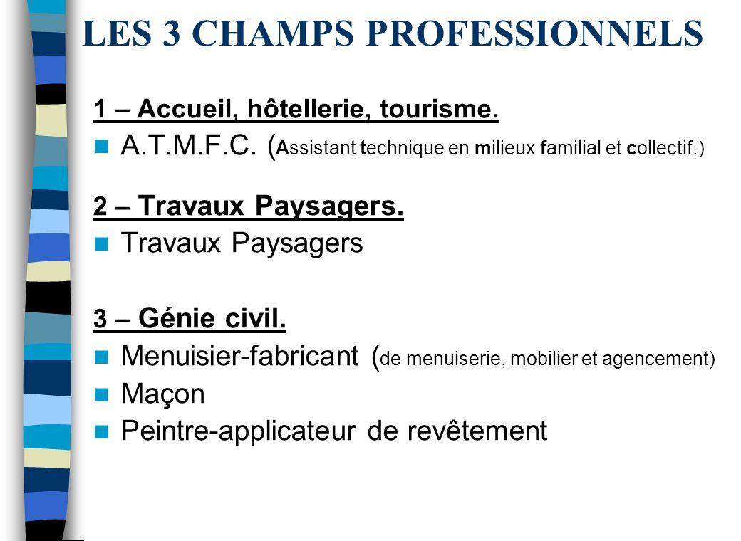 LES 3 CHAMPS PROFESSIONNELS 1 – Accueil, hôtellerie, tourisme.