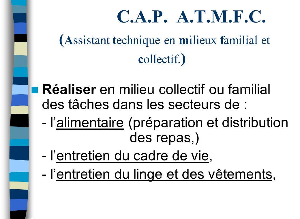 C.A.P.A.T.M.F.C. ( Assistant technique en milieux familial et collectif.