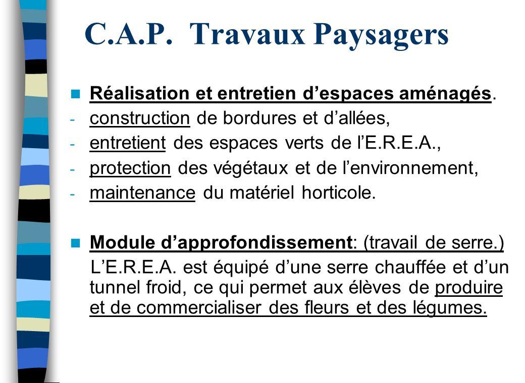 C.A.P.Travaux Paysagers Réalisation et entretien despaces aménagés.
