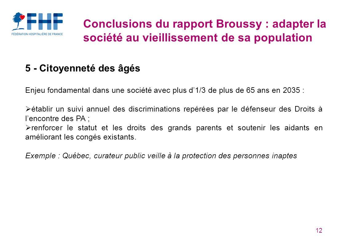 12 Conclusions du rapport Broussy : adapter la société au vieillissement de sa population 5 - Citoyenneté des âgés Enjeu fondamental dans une société