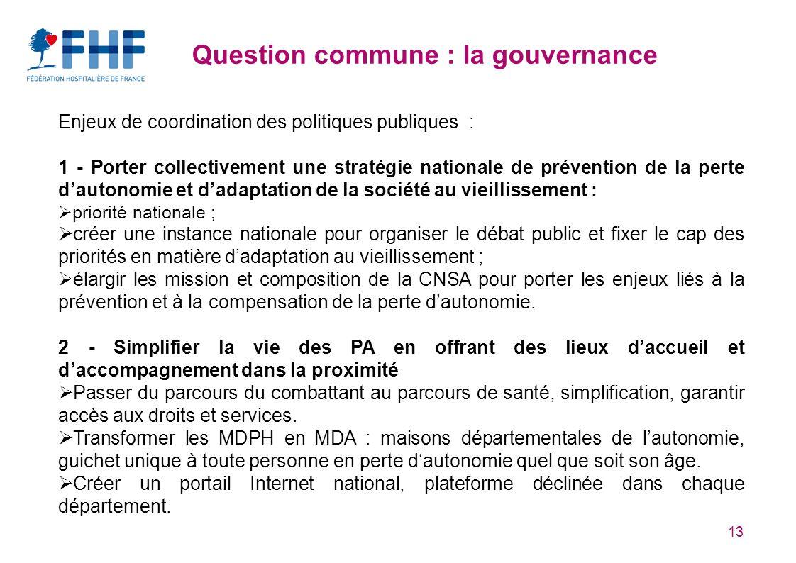 13 Question commune : la gouvernance Enjeux de coordination des politiques publiques : 1 - Porter collectivement une stratégie nationale de prévention