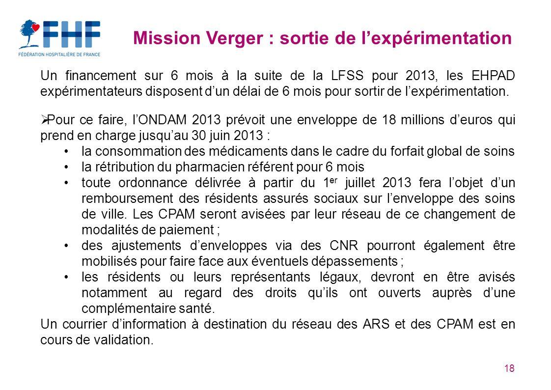 18 Mission Verger : sortie de lexpérimentation Un financement sur 6 mois à la suite de la LFSS pour 2013, les EHPAD expérimentateurs disposent dun délai de 6 mois pour sortir de lexpérimentation.