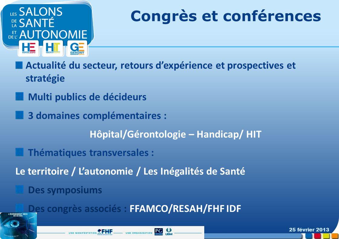 Congrès et conférences Actualité du secteur, retours dexpérience et prospectives et stratégie Multi publics de décideurs 3 domaines complémentaires :