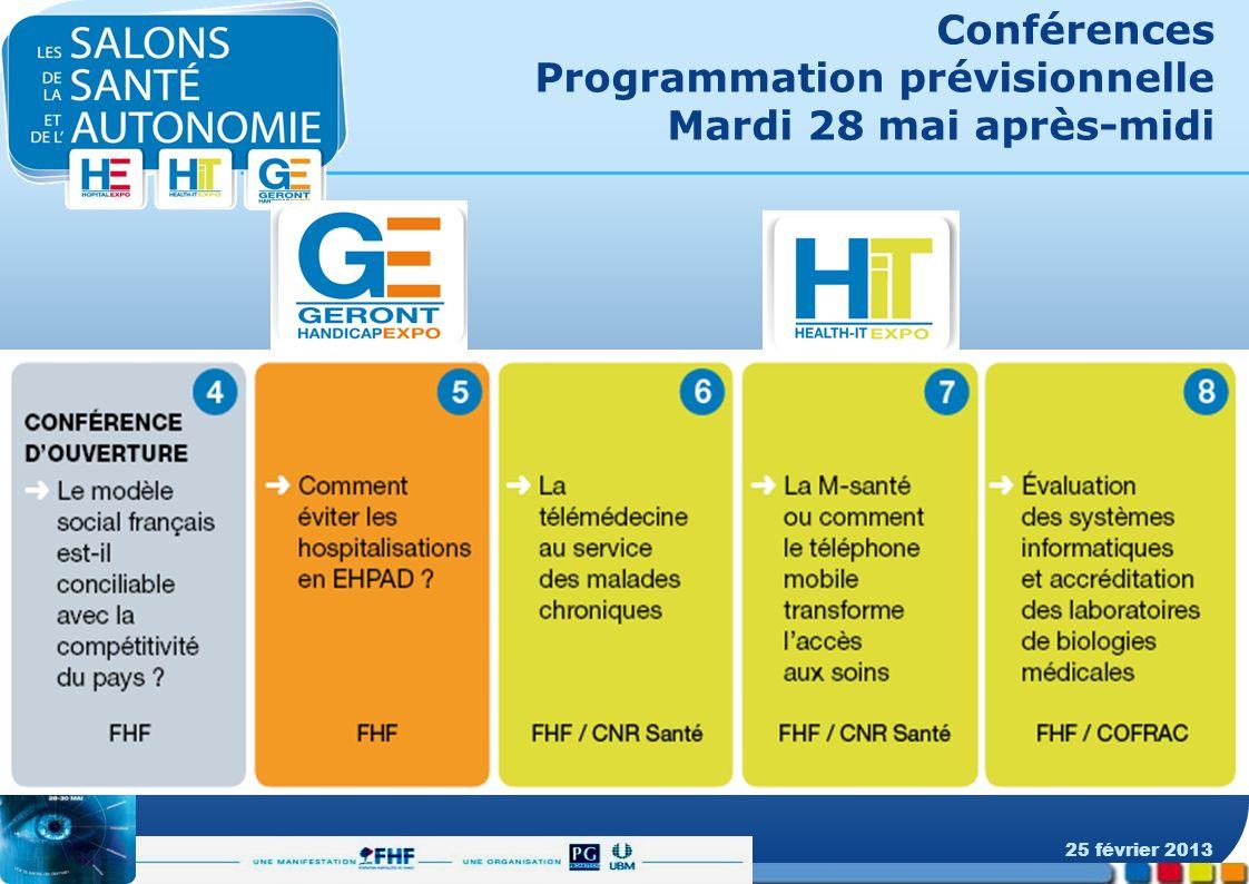 Conférences Programmation prévisionnelle Mardi 28 mai après-midi 25 février 2013