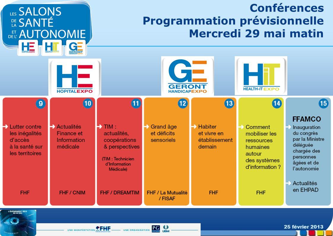 Conférences Programmation prévisionnelle Mercredi 29 mai matin 25 février 2013