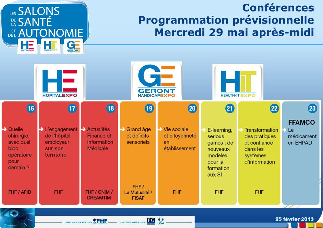 Conférences Programmation prévisionnelle Mercredi 29 mai après-midi 25 février 2013