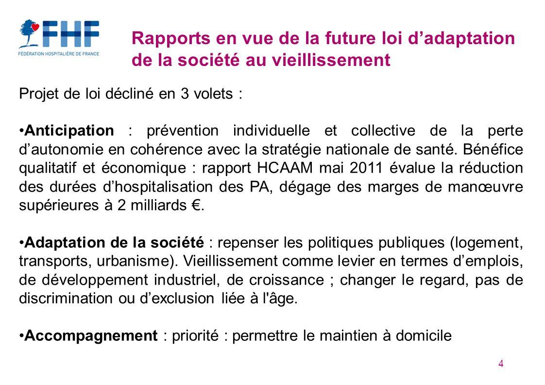 4 Rapports en vue de la future loi dadaptation de la société au vieillissement Projet de loi décliné en 3 volets : Anticipation : prévention individue