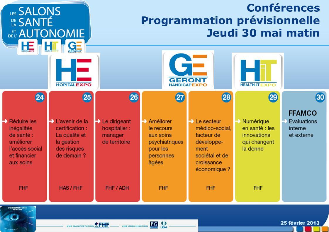 Conférences Programmation prévisionnelle Jeudi 30 mai matin 25 février 2013