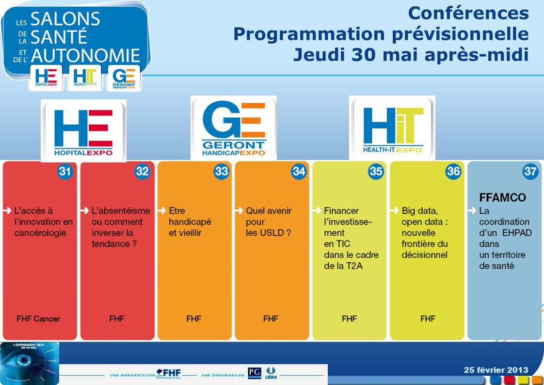 Conférences Programmation prévisionnelle Jeudi 30 mai après-midi 25 février 2013