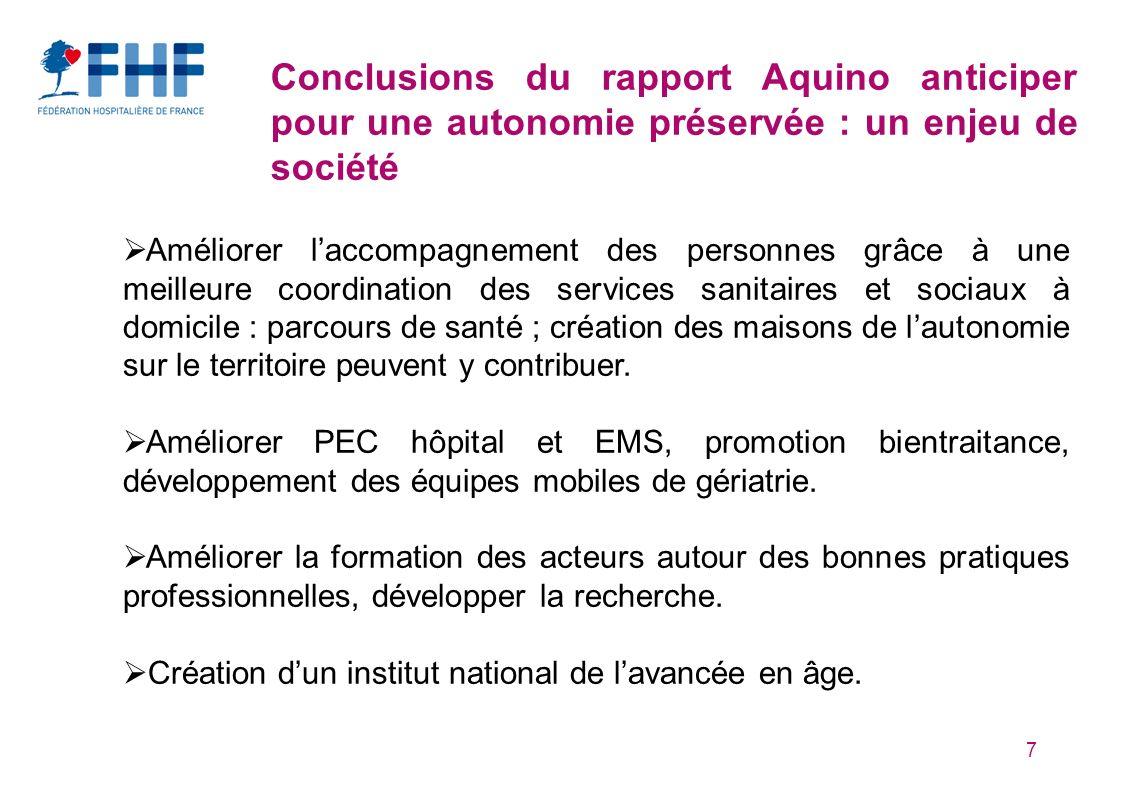7 Conclusions du rapport Aquino anticiper pour une autonomie préservée : un enjeu de société Améliorer laccompagnement des personnes grâce à une meill