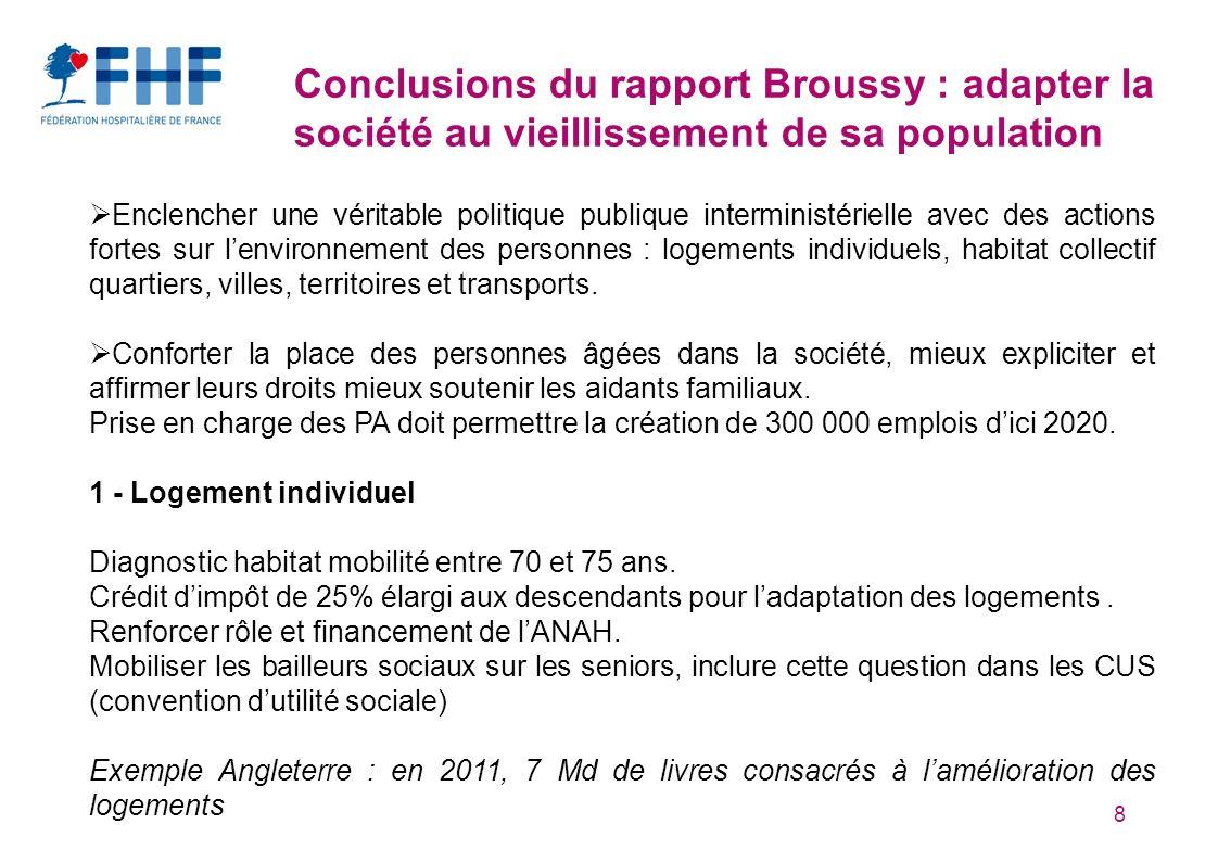 8 Conclusions du rapport Broussy : adapter la société au vieillissement de sa population Enclencher une véritable politique publique interministériell