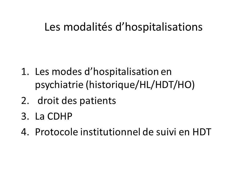 Les modalités dhospitalisations 1.Les modes dhospitalisation en psychiatrie (historique/HL/HDT/HO) 2. droit des patients 3.La CDHP 4.Protocole institu