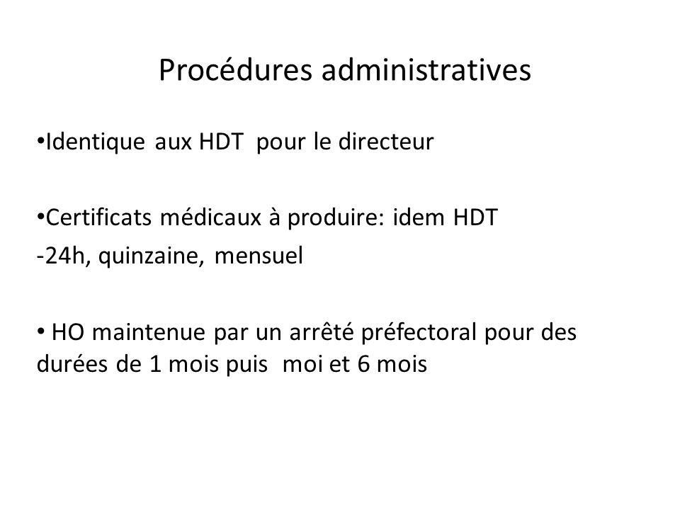 Procédures administratives Identique aux HDT pour le directeur Certificats médicaux à produire: idem HDT -24h, quinzaine, mensuel HO maintenue par un