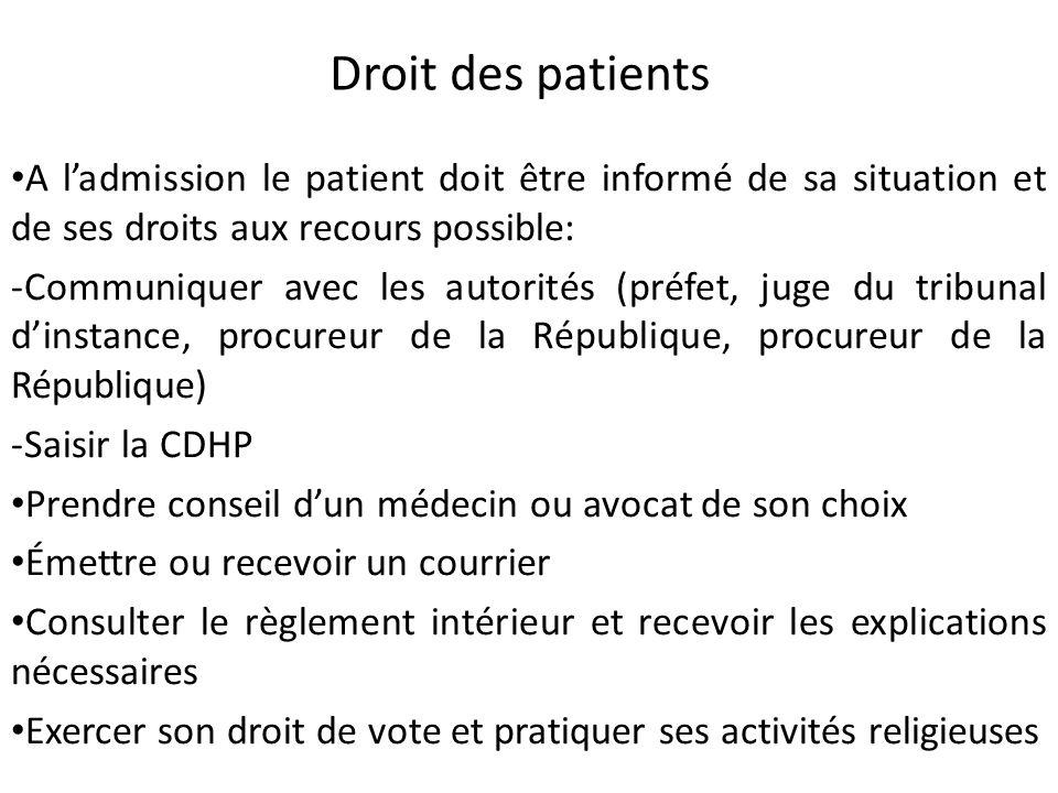 Droit des patients A ladmission le patient doit être informé de sa situation et de ses droits aux recours possible: -Communiquer avec les autorités (p