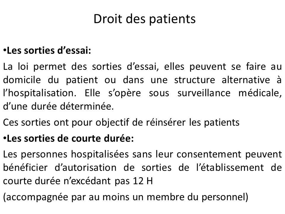 Droit des patients Les sorties dessai: La loi permet des sorties dessai, elles peuvent se faire au domicile du patient ou dans une structure alternati