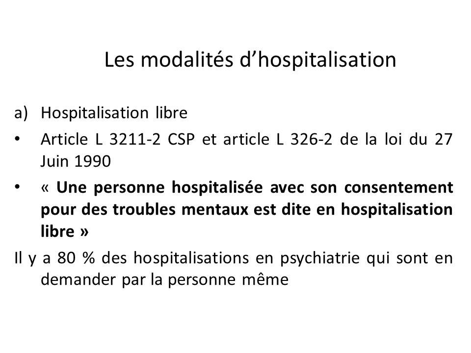Les modalités dhospitalisation a)Hospitalisation libre Article L 3211-2 CSP et article L 326-2 de la loi du 27 Juin 1990 « Une personne hospitalisée a