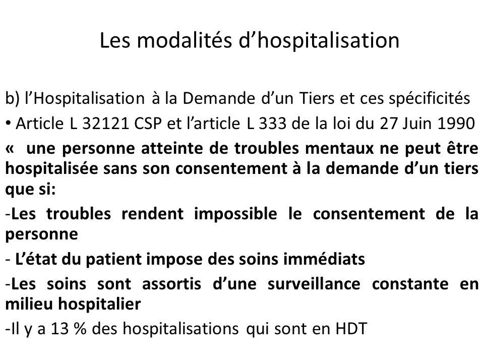 Les modalités dhospitalisation b) lHospitalisation à la Demande dun Tiers et ces spécificités Article L 32121 CSP et larticle L 333 de la loi du 27 Ju
