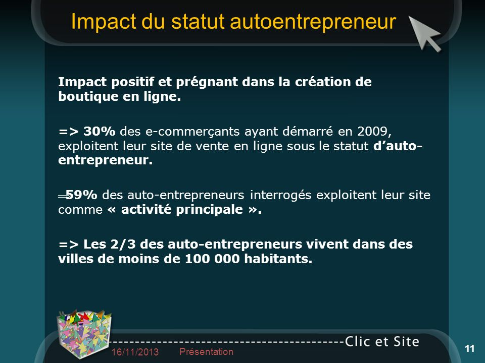 Impact du statut autoentrepreneur Impact positif et prégnant dans la création de boutique en ligne. => 30% des e-commerçants ayant démarré en 2009, ex
