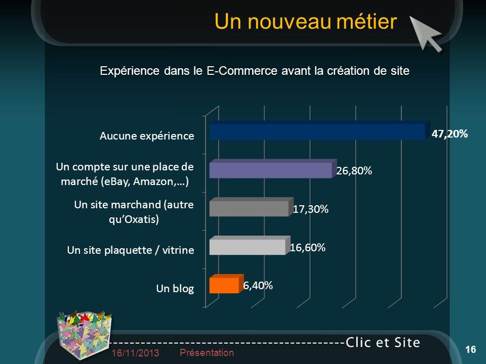 Un nouveau métier 16/11/2013 Présentation 16 Expérience dans le E-Commerce avant la création de site