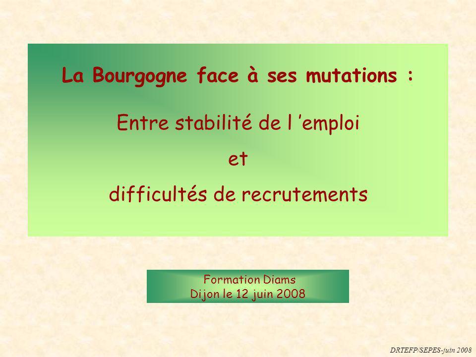 La Bourgogne face à ses mutations : Entre stabilité de l emploi et difficultés de recrutements Formation Diams Dijon le 12 juin 2008 DRTEFP/SEPES-juin