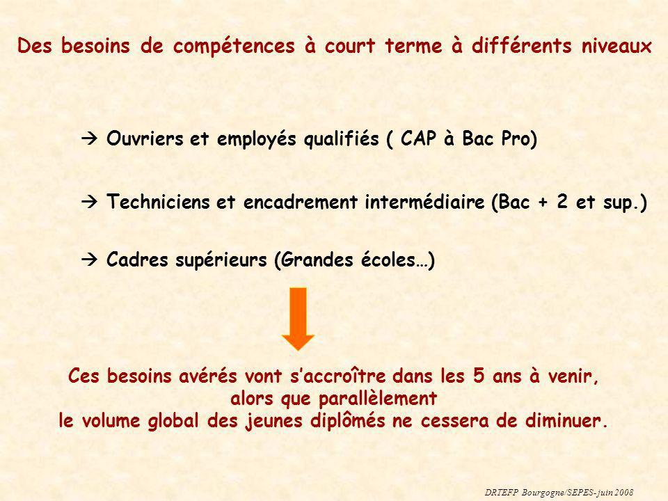 Des besoins de compétences à court terme à différents niveaux Ouvriers et employés qualifiés ( CAP à Bac Pro) Techniciens et encadrement intermédiaire