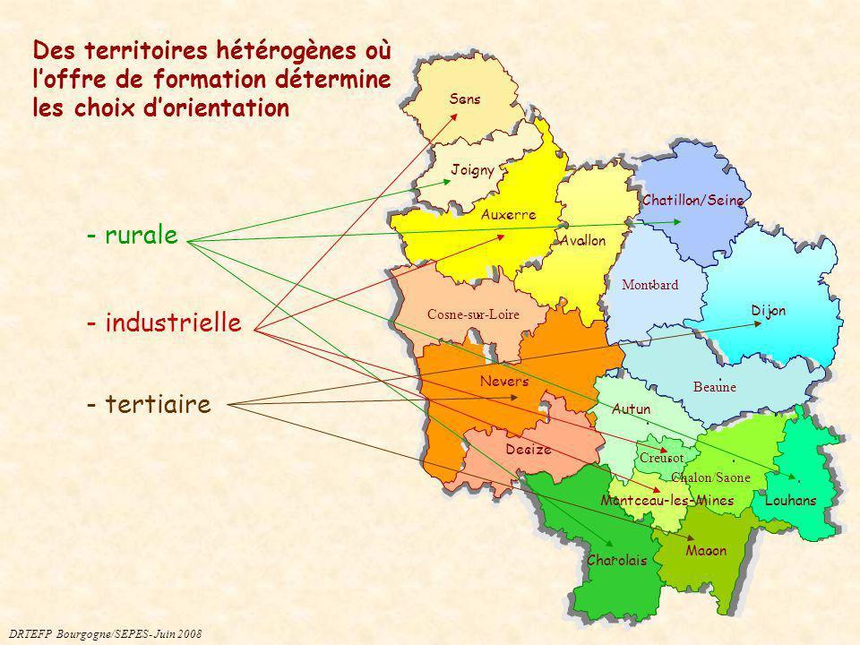 Des territoires hétérogènes où loffre de formation détermine les choix dorientation Macon Dijon Auxerre Nevers Chalon/Saone Chatillon/Seine Sens Montb