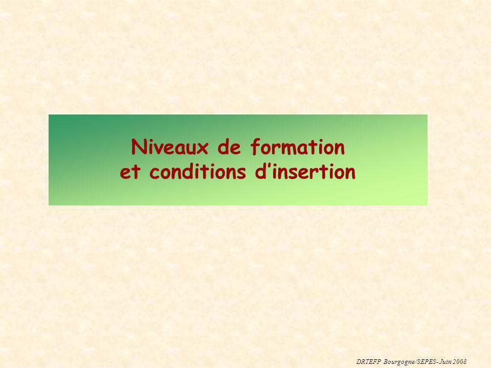 Niveaux de formation et conditions dinsertion DRTEFP Bourgogne/SEPES- Juin 2008