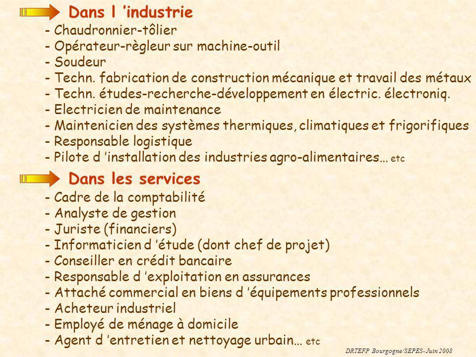 DRTEFP Bourgogne/SEPES- Juin 2008 Dans l industrie - Chaudronnier-tôlier - Opérateur-règleur sur machine-outil - Soudeur - Techn. fabrication de const