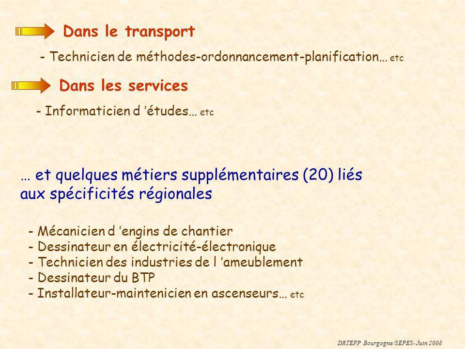 DRTEFP Bourgogne/SEPES- Juin 2008 Dans le transport - Technicien de méthodes-ordonnancement-planification… etc Dans les services - Informaticien d étu