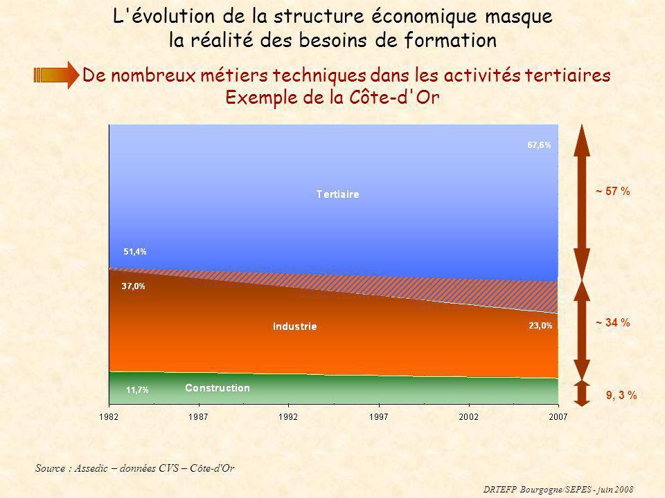 ~ 34 % ~ 57 % DRTEFP Bourgogne/SEPES - juin 2008 L'évolution de la structure économique masque la réalité des besoins de formation De nombreux métiers