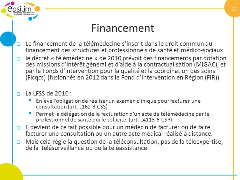 Financement Le financement de la télémédecine sinscrit dans le droit commun du financement des structures et professionnels de santé et médico-soc