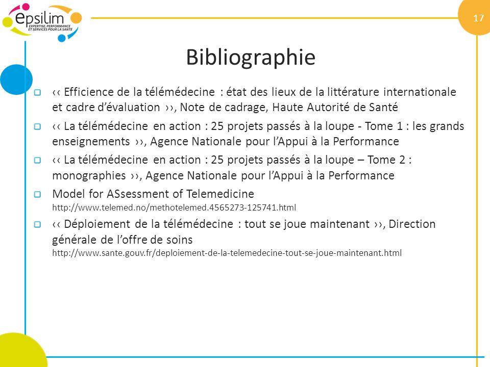 Bibliographie Efficience de la télémédecine : état des lieux de la littérature internationale et cadre dévaluation, Note de cadrage, Haute Autorité de