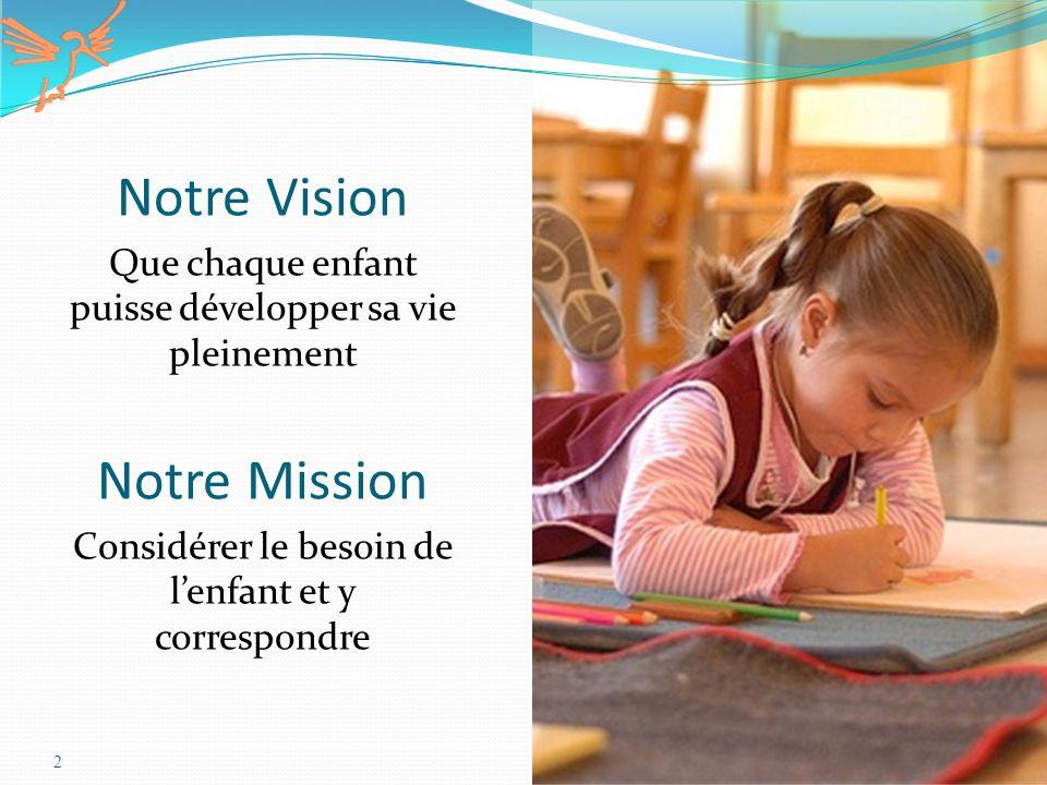 2 Notre Vision Que chaque enfant puisse développer sa vie pleinement Notre Mission Considérer le besoin de lenfant et y correspondre