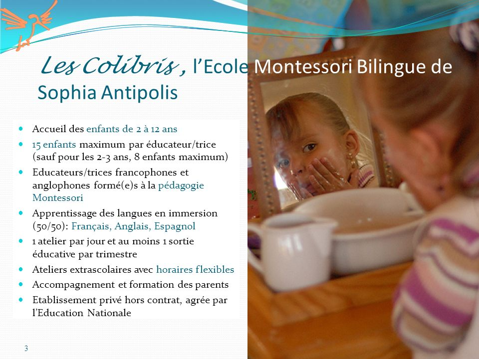 3 Accueil des enfants de 2 à 12 ans 15 enfants maximum par éducateur/trice (sauf pour les 2-3 ans, 8 enfants maximum) Educateurs/trices francophones e