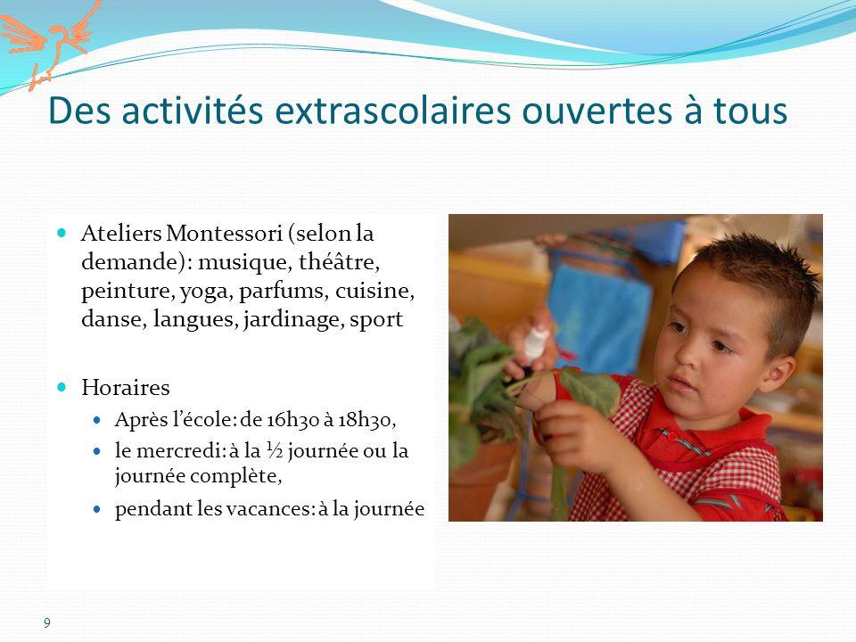 9 Des activités extrascolaires ouvertes à tous Ateliers Montessori (selon la demande): musique, théâtre, peinture, yoga, parfums, cuisine, danse, lang