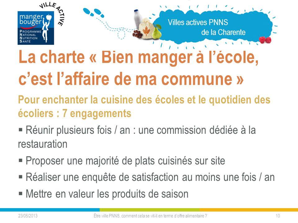 23/05/2013 10 La charte « Bien manger à lécole, cest laffaire de ma commune » Pour enchanter la cuisine des écoles et le quotidien des écoliers : 7 en