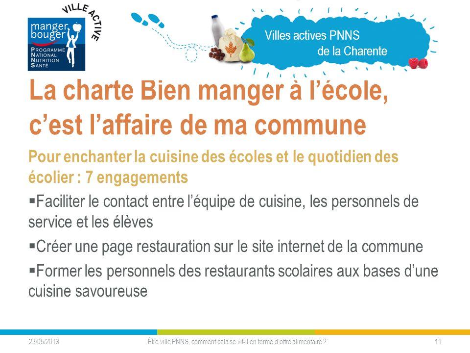 23/05/2013 11 La charte Bien manger à lécole, cest laffaire de ma commune Pour enchanter la cuisine des écoles et le quotidien des écolier : 7 engagem