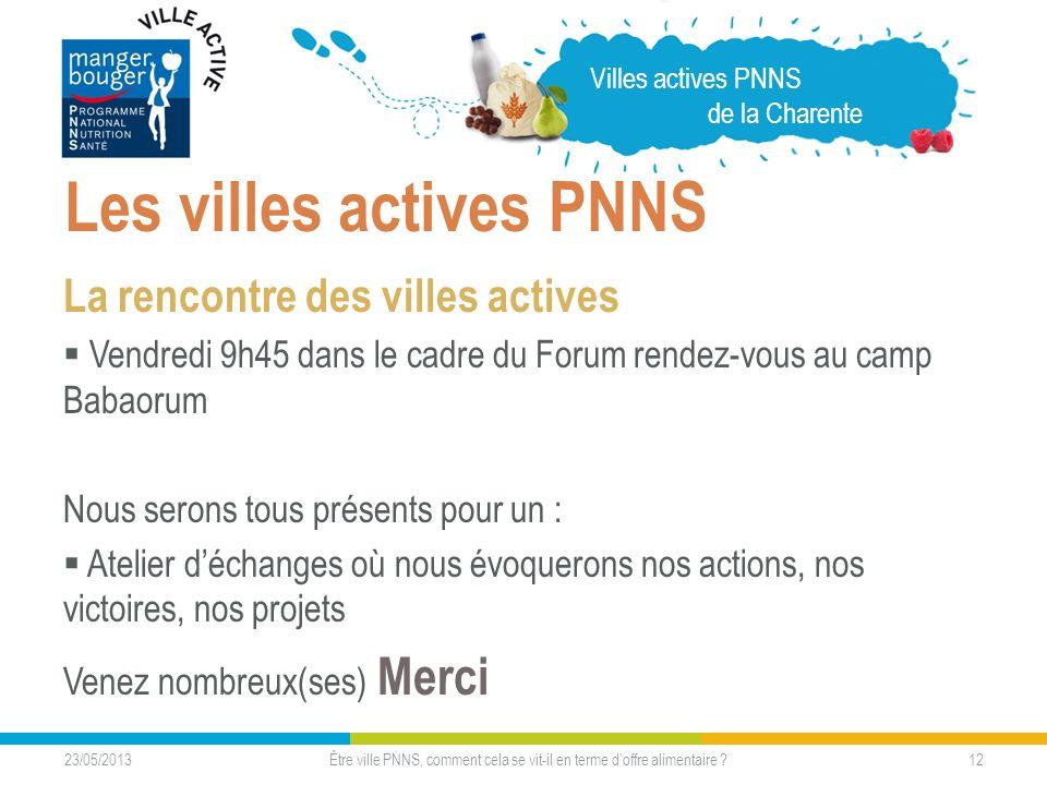 23/05/2013 12 Les villes actives PNNS La rencontre des villes actives Vendredi 9h45 dans le cadre du Forum rendez-vous au camp Babaorum Nous serons to