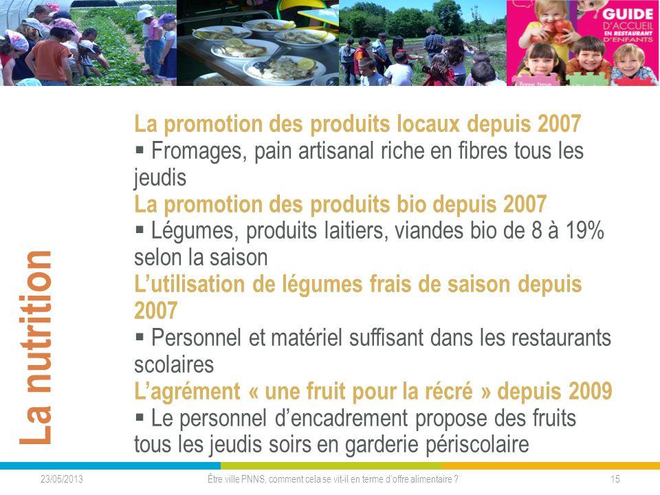 23/05/2013 15Être ville PNNS, comment cela se vit-il en terme doffre alimentaire ? La nutrition La promotion des produits locaux depuis 2007 Fromages,