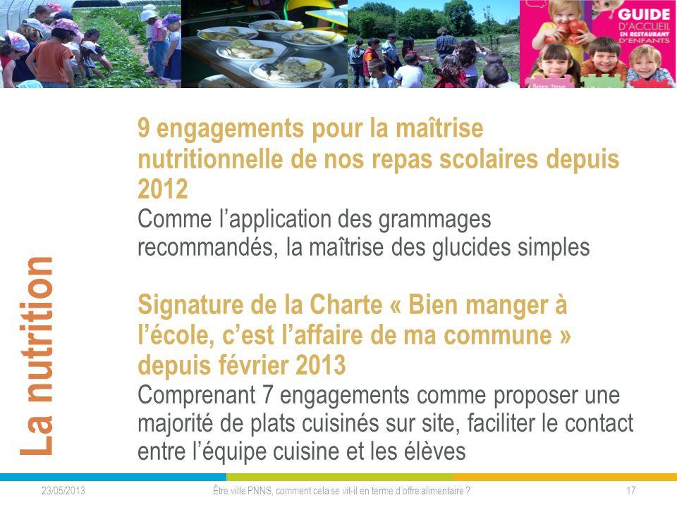 23/05/2013 17Être ville PNNS, comment cela se vit-il en terme doffre alimentaire ? La nutrition 9 engagements pour la maîtrise nutritionnelle de nos r