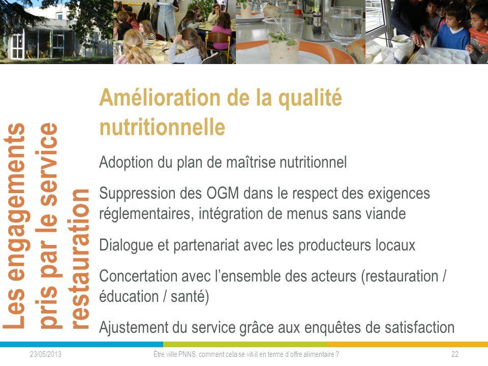 Les engagements pris par le service restauration Amélioration de la qualité nutritionnelle Adoption du plan de maîtrise nutritionnel Suppression des O