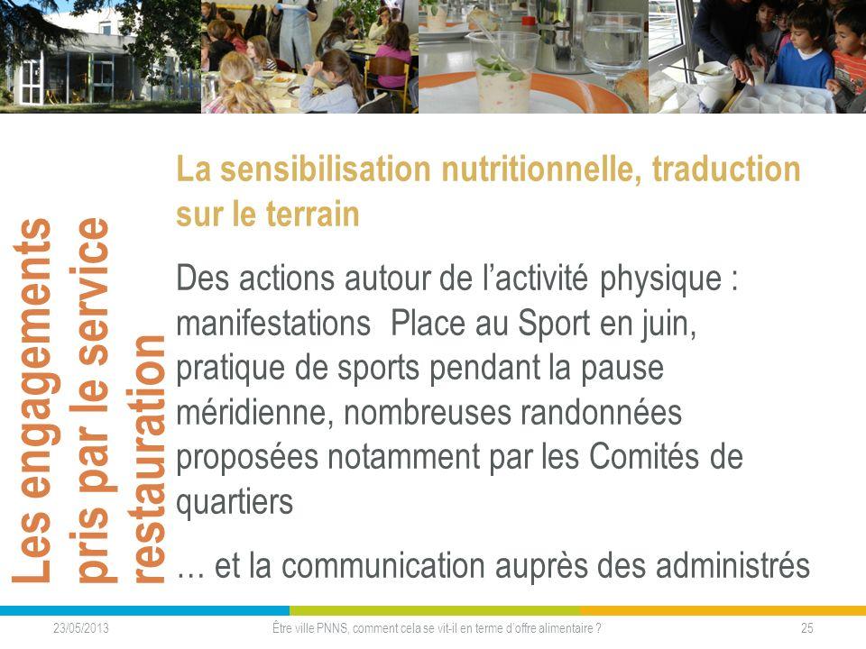 Les engagements pris par le service restauration La sensibilisation nutritionnelle, traduction sur le terrain Des actions autour de lactivité physique