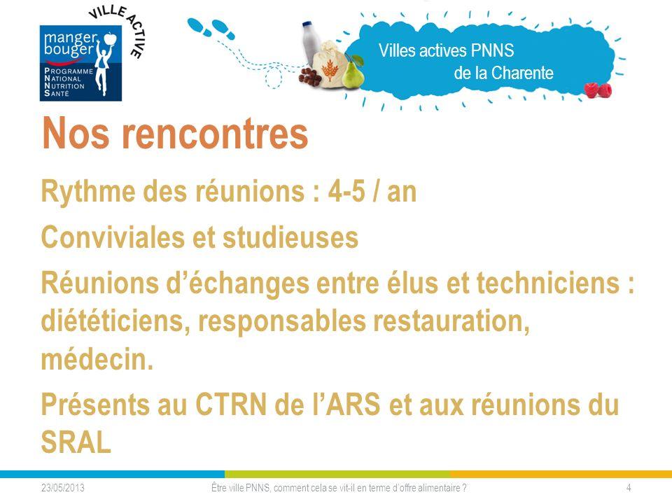 23/05/2013 4 Nos rencontres Rythme des réunions : 4-5 / an Conviviales et studieuses Réunions déchanges entre élus et techniciens : diététiciens, resp