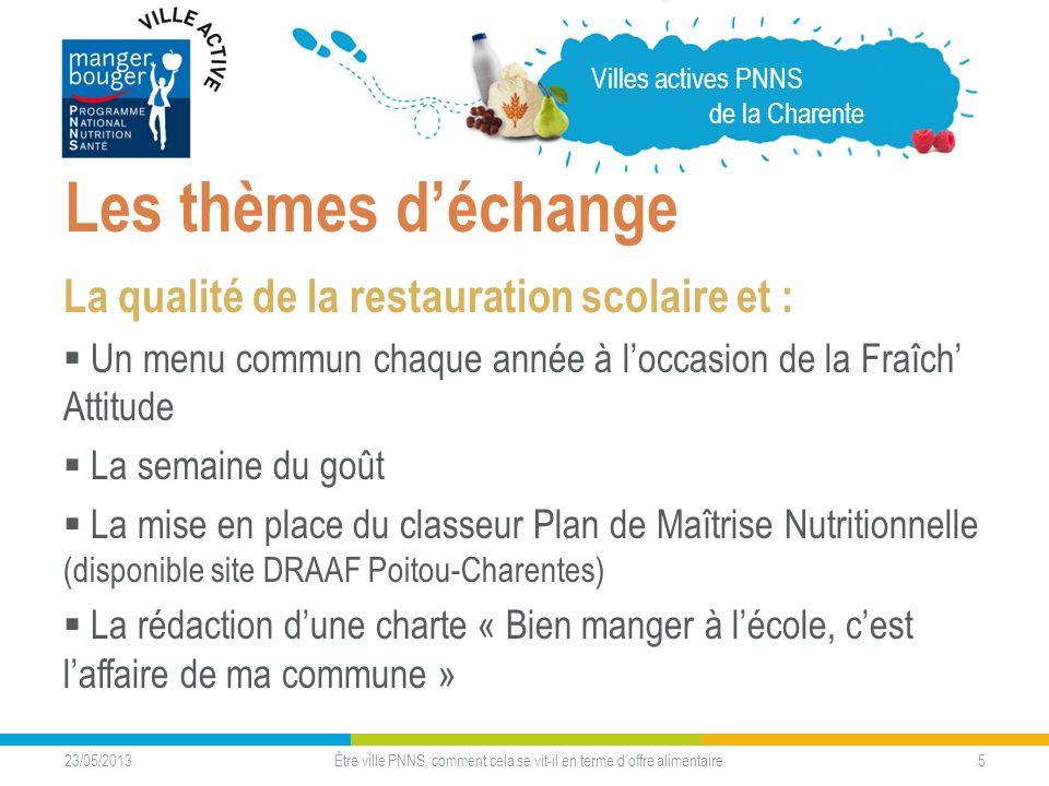 23/05/2013 5 Les thèmes déchange La qualité de la restauration scolaire et : Un menu commun chaque année à loccasion de la Fraîch Attitude La semaine