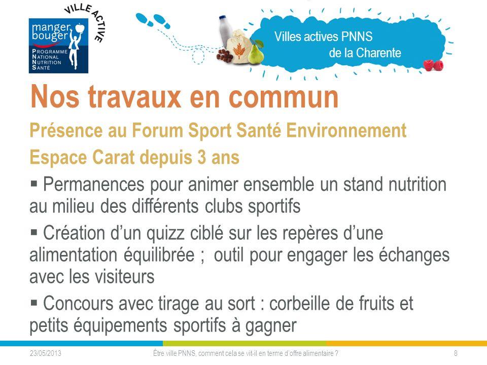 23/05/2013 8 Nos travaux en commun Présence au Forum Sport Santé Environnement Espace Carat depuis 3 ans Permanences pour animer ensemble un stand nut
