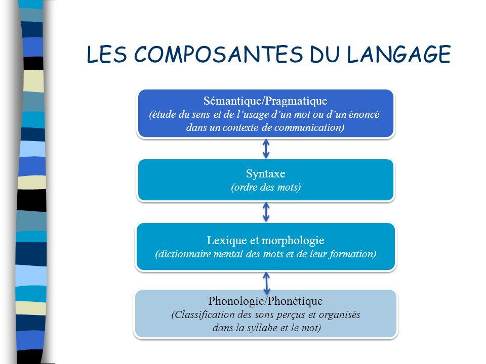 LES COMPOSANTES DU LANGAGE Sémantique/Pragmatique (étude du sens et de lusage dun mot ou dun énoncé dans un contexte de communication) Sémantique/Prag