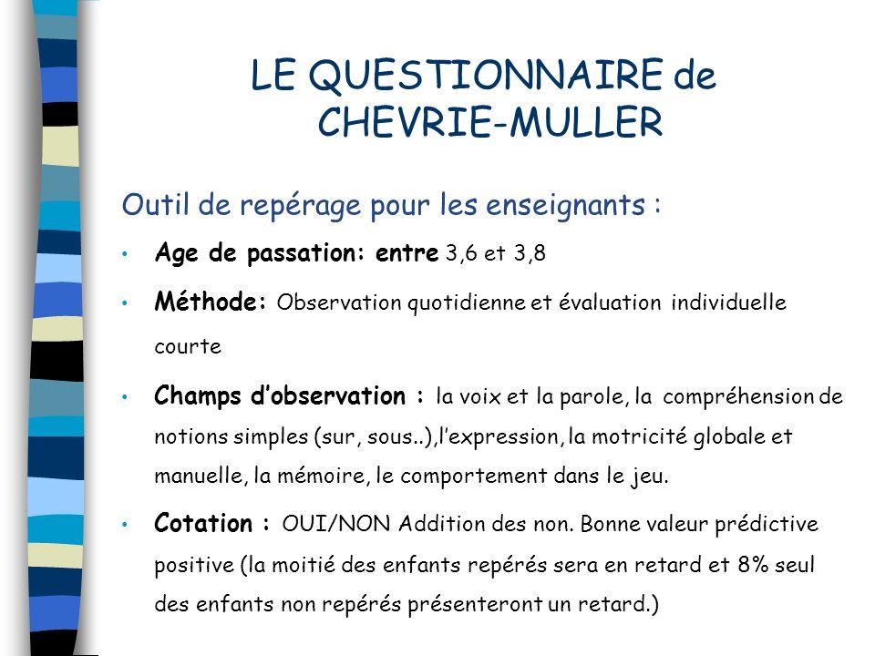 LE QUESTIONNAIRE de CHEVRIE-MULLER Outil de repérage pour les enseignants : Age de passation: entre 3,6 et 3,8 Méthode: Observation quotidienne et éva
