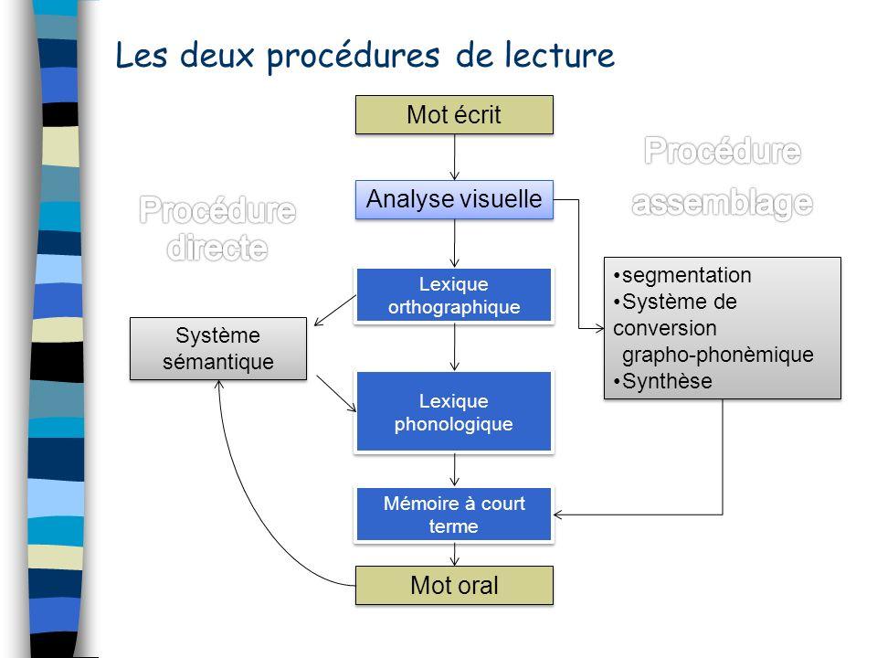 Les deux procédures de lecture Lexique orthographique Lexique orthographique Mot oral Analyse visuelle Mémoire à court terme Système sémantique Systèm