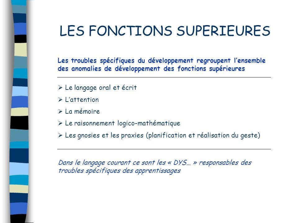 Les troubles spécifiques du développement regroupent lensemble des anomalies de développement des fonctions supérieures Dans le langage courant ce son