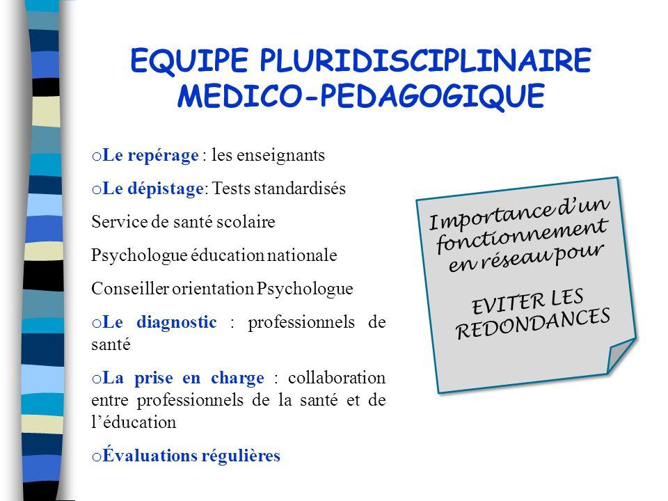 o Le repérage : les enseignants o Le dépistage: Tests standardisés Service de santé scolaire Psychologue éducation nationale Conseiller orientation Ps